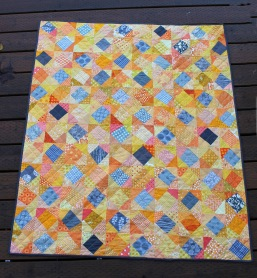 wonky block grey yellow quilt