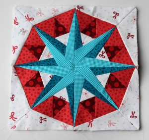 Paper piecing star pattern red aqua modern free
