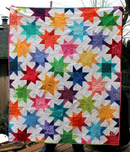scrap modern wonky star quilt bright simple kids quilt