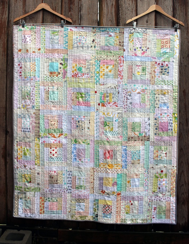 low volume log cabin quilt