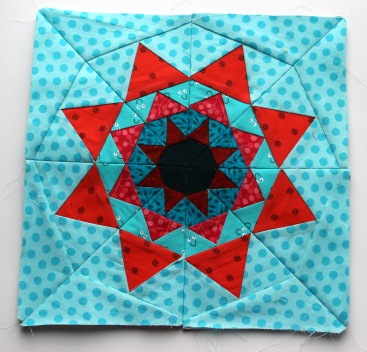 red aqua paper piecing star quilt block pattern