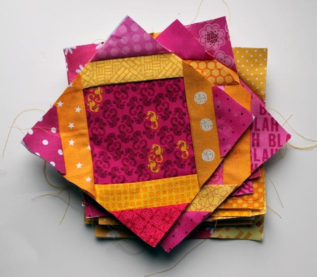pile of quilt blocks