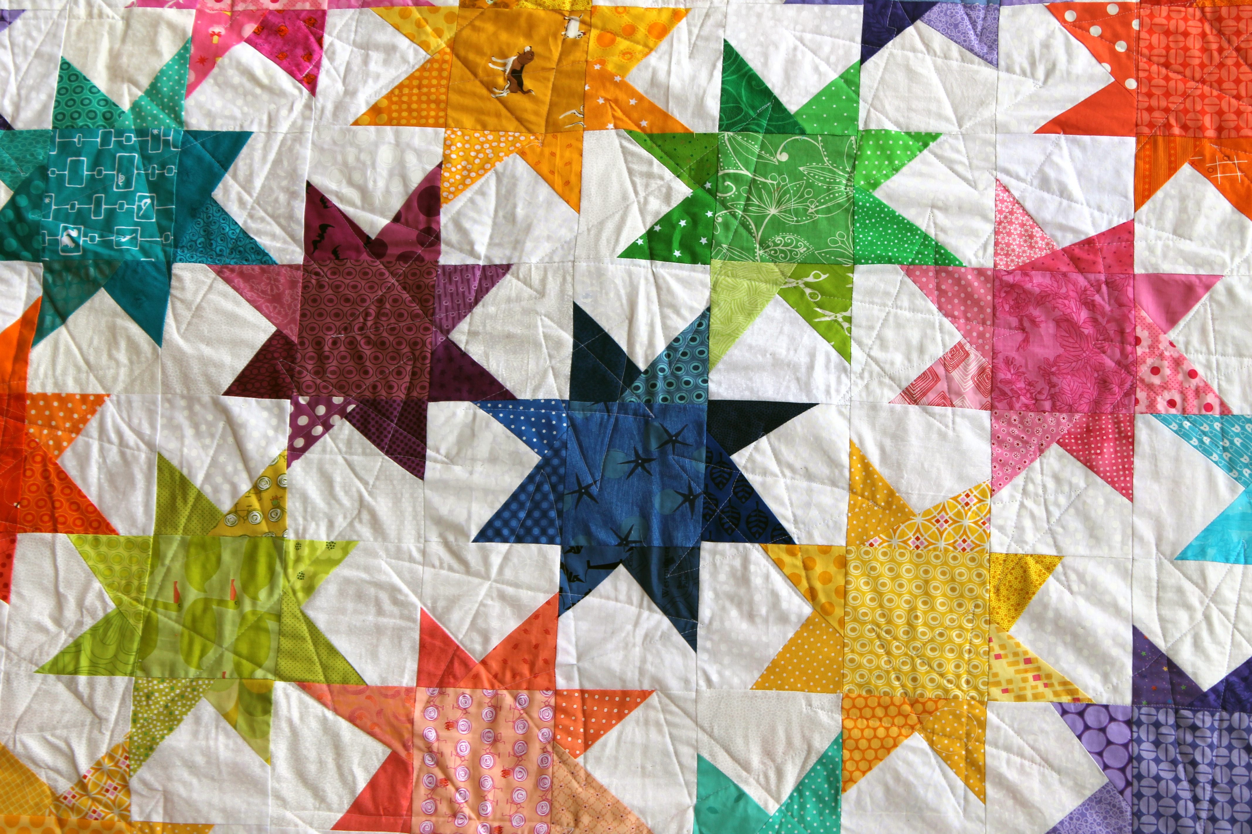 Wonky star quilt finished wombat quilts for Quilting material