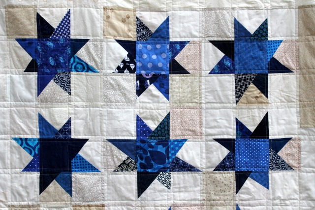 blue wonky star quilt detail