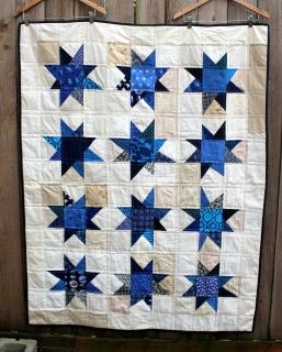 scrap modern wonky star quilt detail