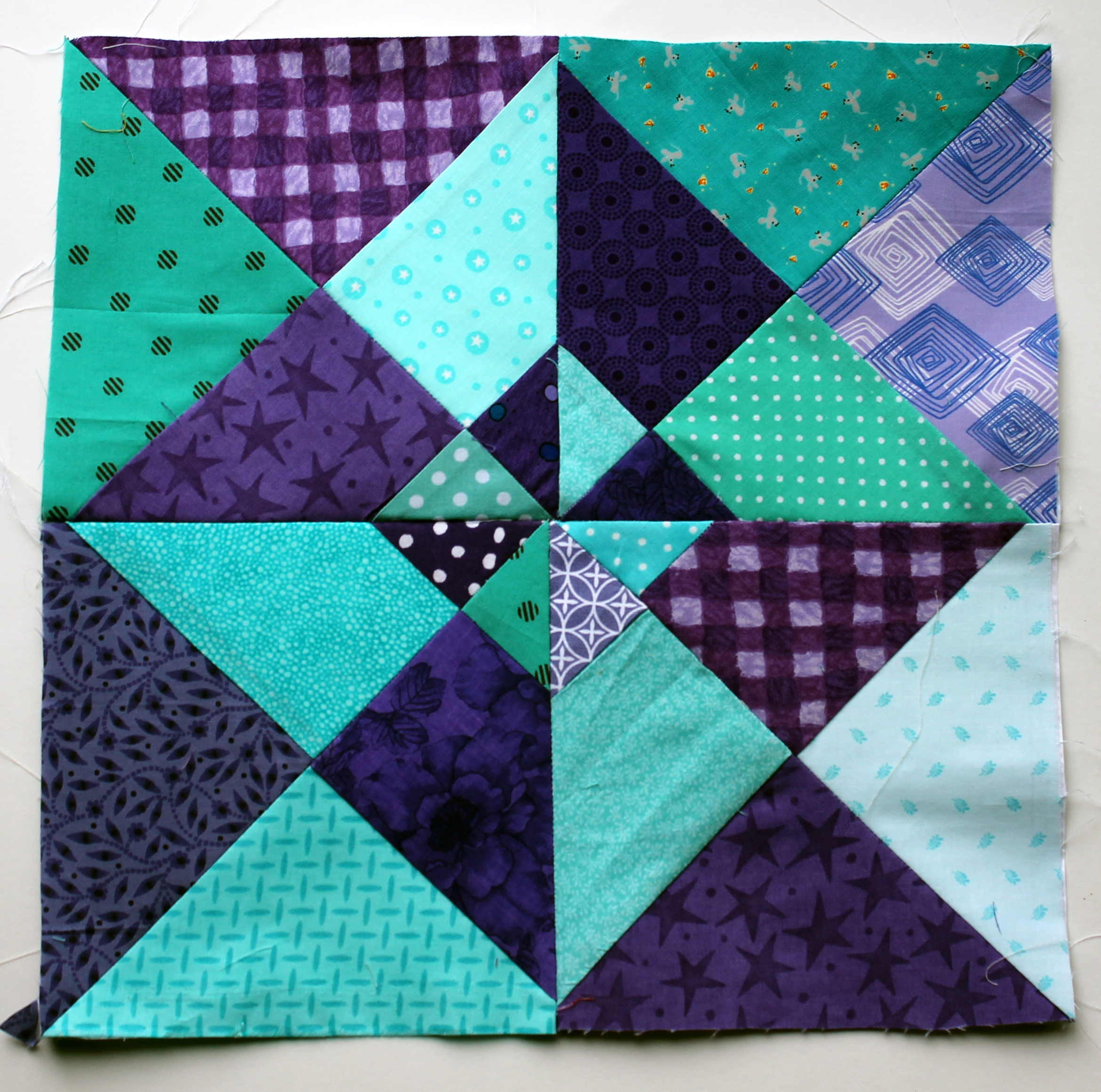 Quilt Patterns Windmill Block : Colours of this week are purple & aqua! WOMBAT QUILTS