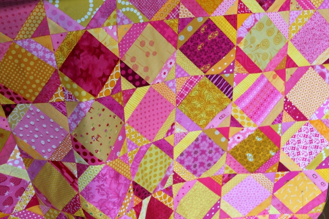 finihsed yellow & pink quilt top