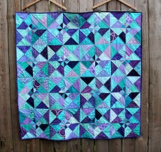 Modern purple aqua kids quilt Simple pinwheel pattern