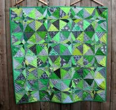 modern green grey quilt