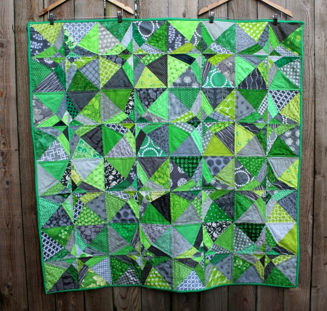 green grey finished quilt