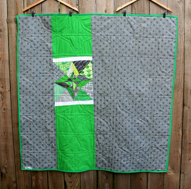 green grey quilt back