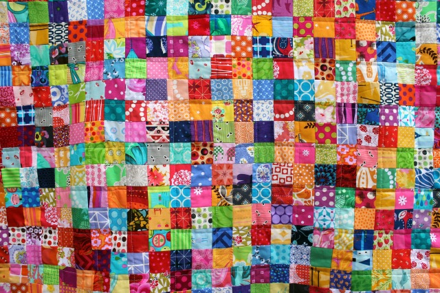 postage stamp quilt detail