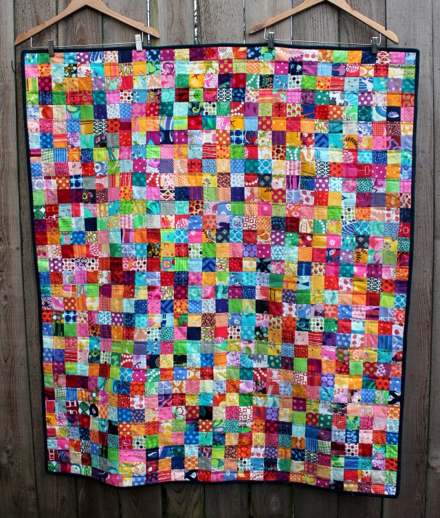 postage stamp quilt finished