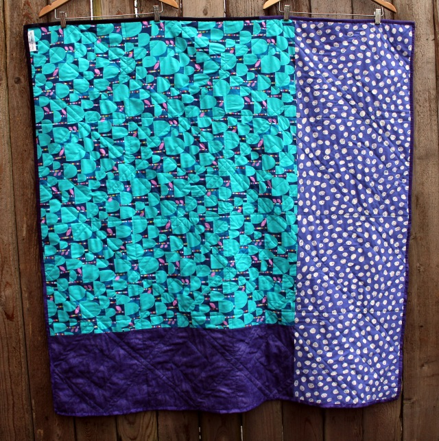 purple aqua quilt back