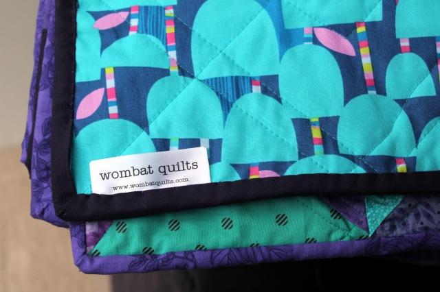 purple aqua quilt binding