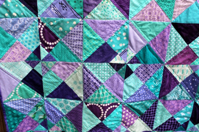 purple aqua quilt detail