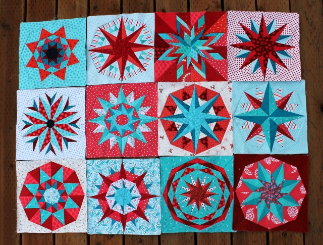 Work in progress paper piecing star sampler quilt.