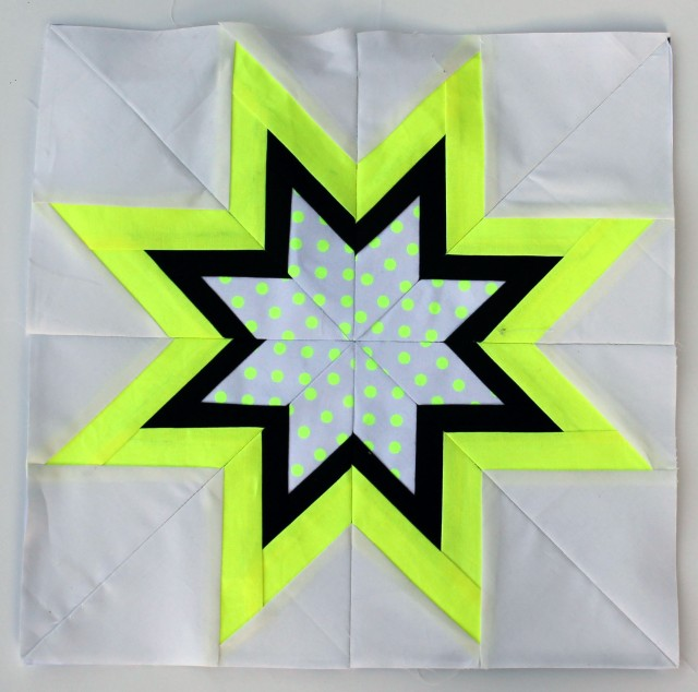 Michael Miller Neon paper pieced star block