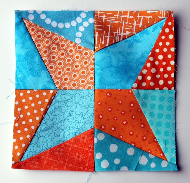 blue orange quilt block simplified modern Iowa star block