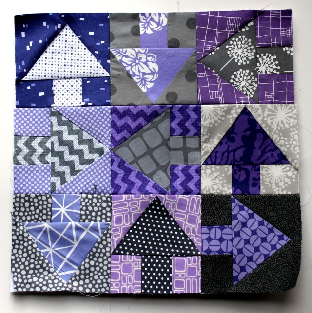 purple & grey arrow quilt block