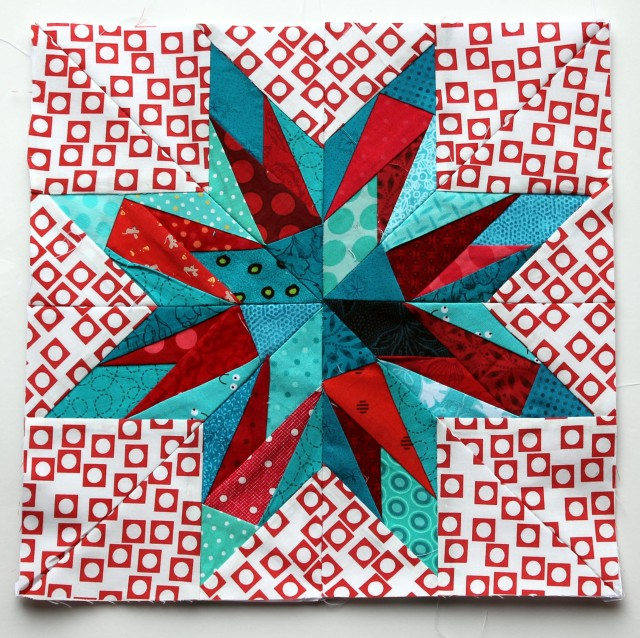 modern scrap paper pieced star