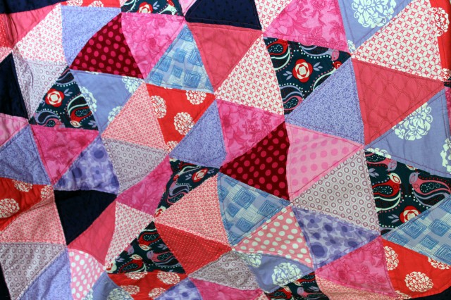 purple pink triangle quilt