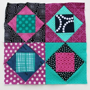 square in square modern scrap quilt block