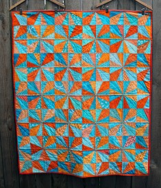 blue orange finished modern kids quilt