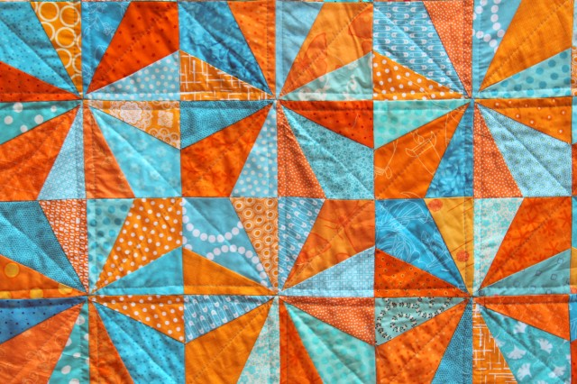 modern bright kids quilt detail