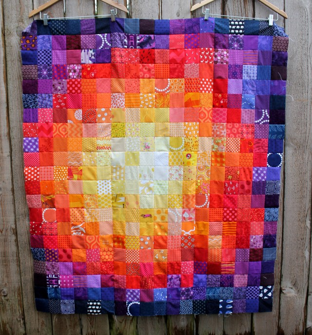 simple colourful square quilt