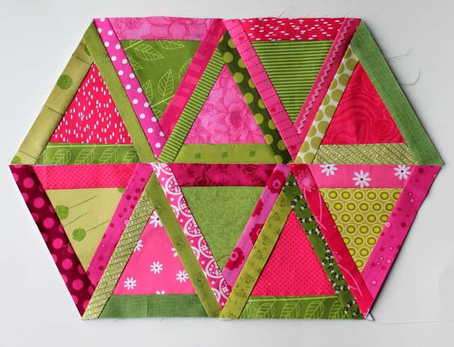 modern scrap triangle quilt blocks
