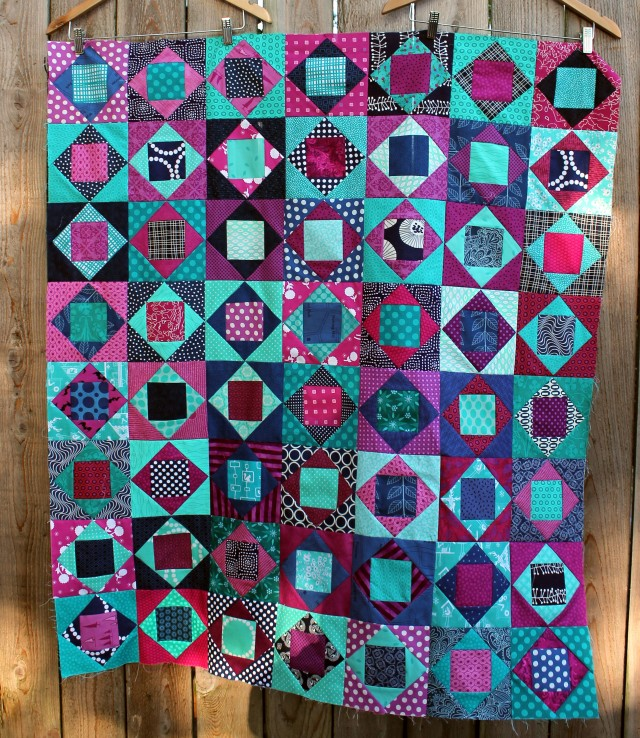 modern scrap square in square quilt