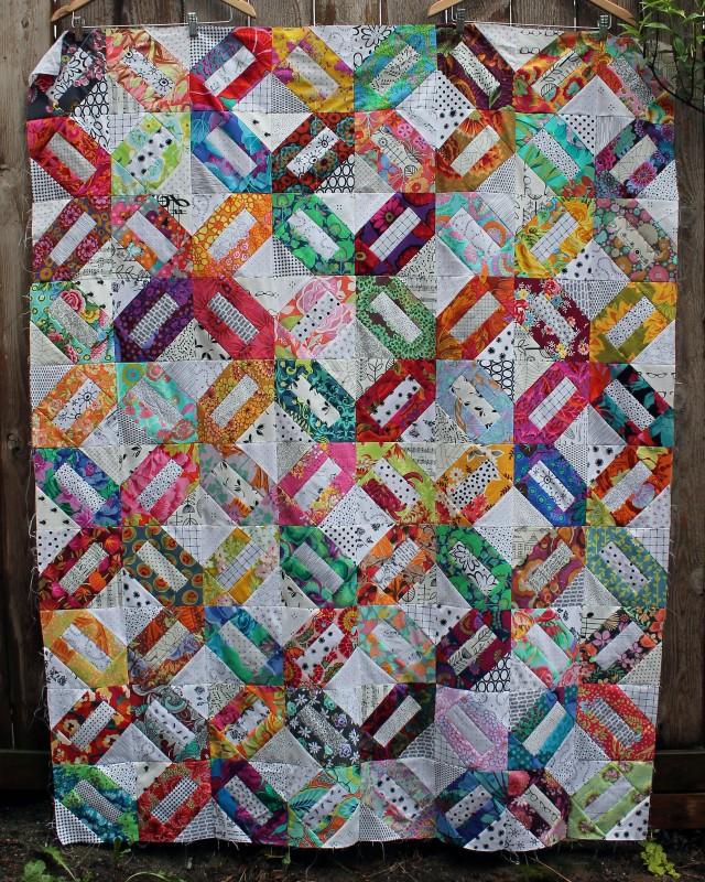 modern floral scrap quilt top
