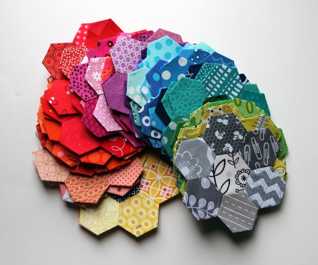 hexagon flowers modern bright