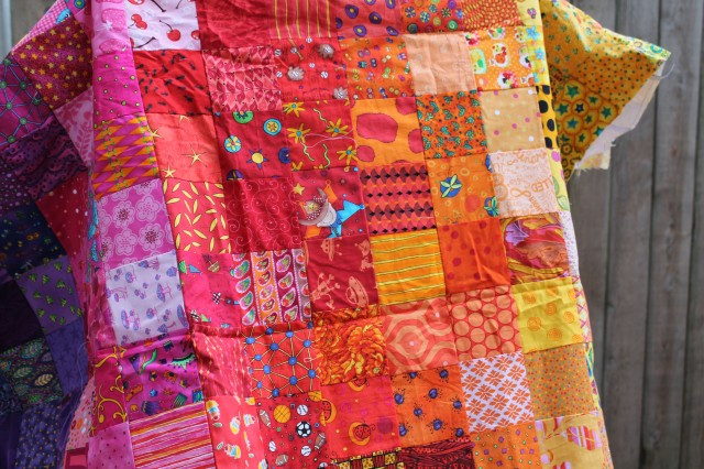 simple novelty rainbow quilt top