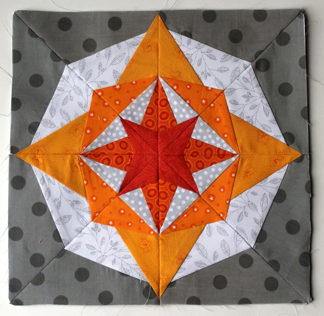 bright modern paper pieced block