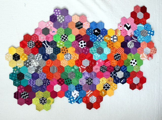 hexagon flower modern quilt