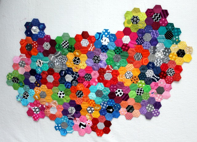 modern hexagon flower quilt wip