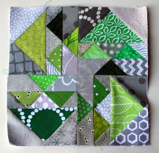 modern scrap paper pieced block