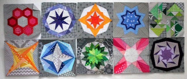modern scrap paper pieced quilt blocks