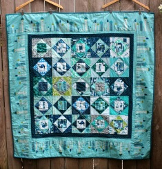 square in square modern scrap quilt