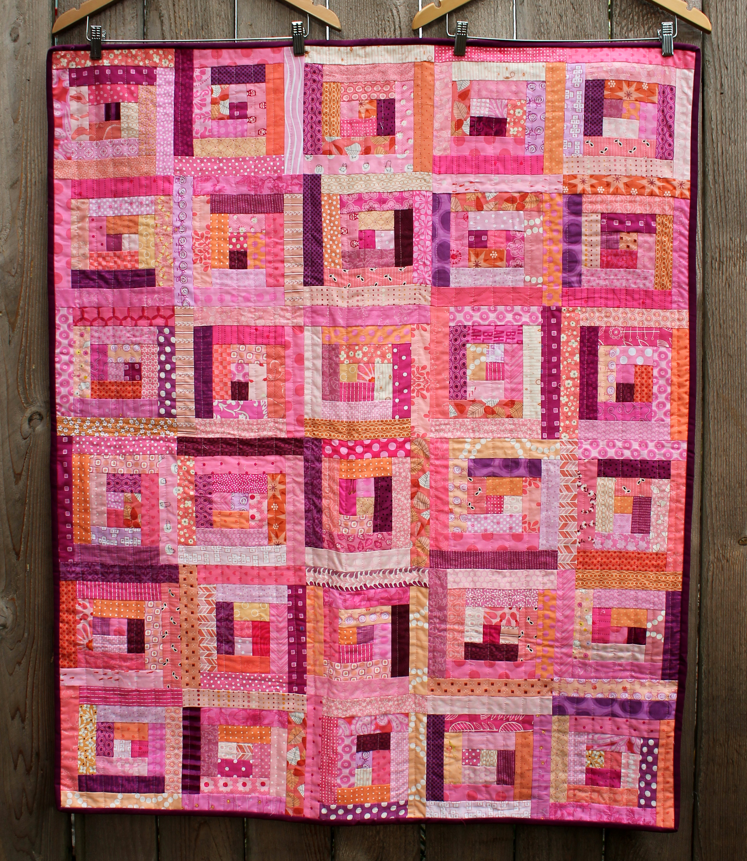 Very Impressive portraiture of quilted Blush using the diagonal lines of the log cabin block as a  with #A54726 color and 2506x2887 pixels