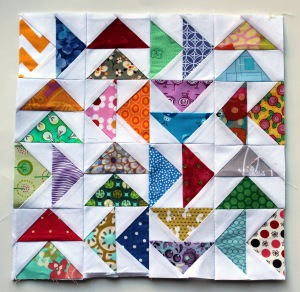 paper pieced flying geese mini block