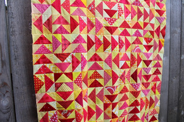 modern flying geese scrap quilt