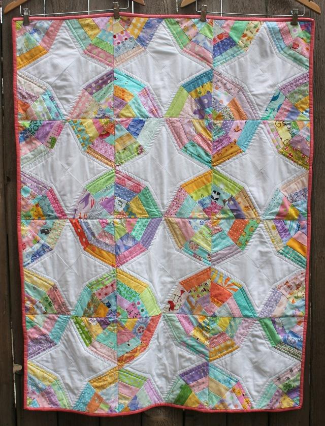 Scrap spiderweb quilt