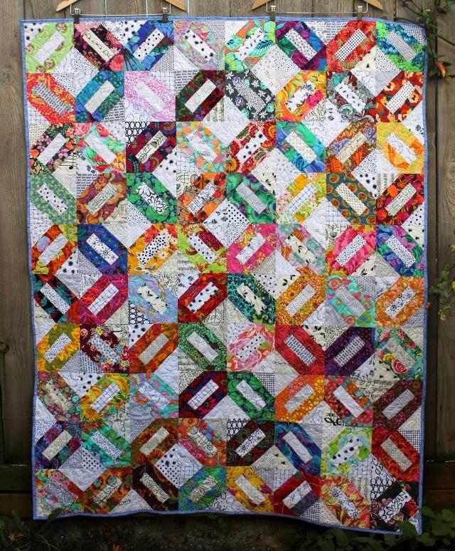 modern scrap floral quilt