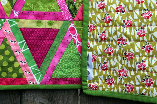 finished triangle quilt binding