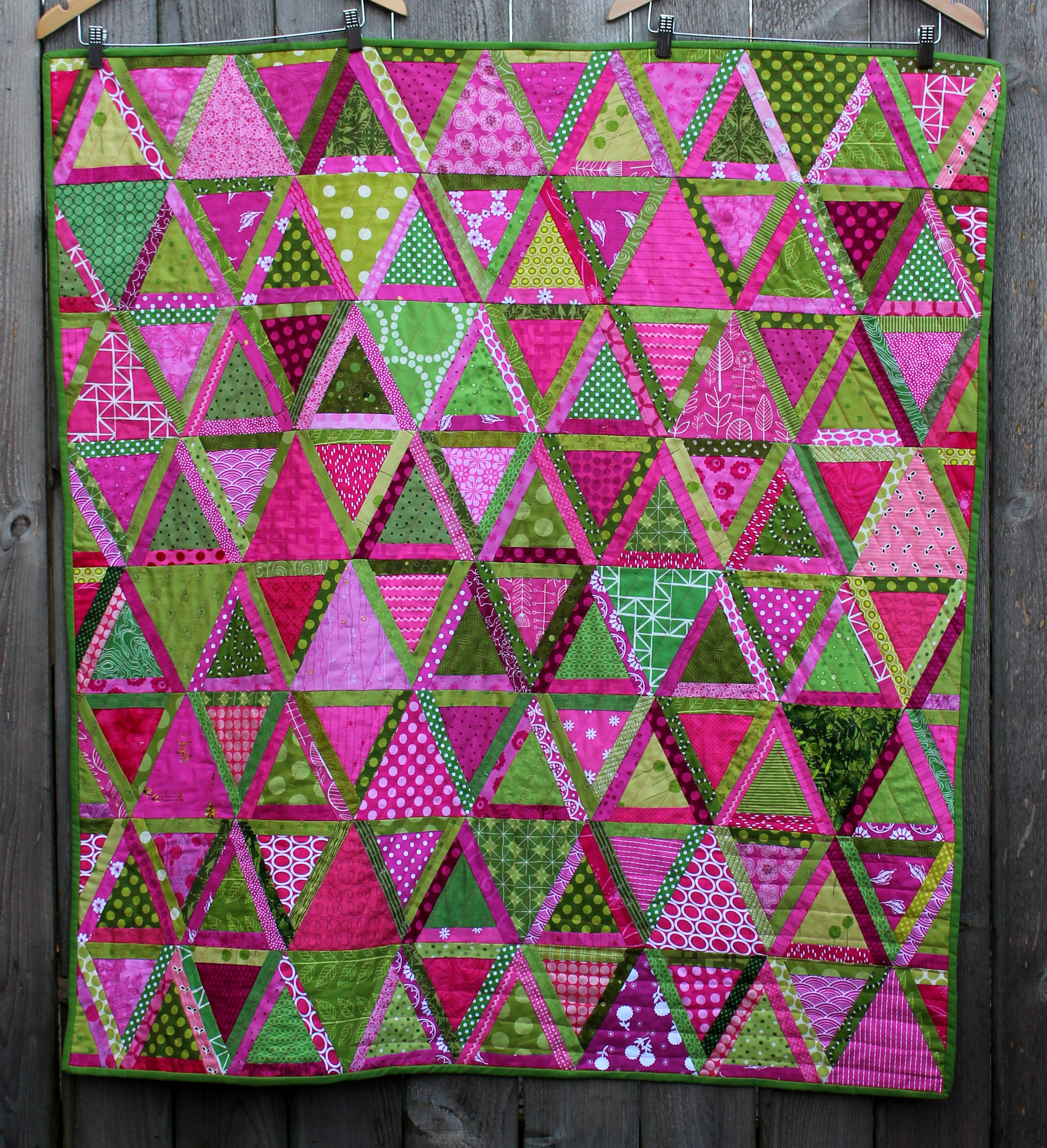 Tricky Triangles finally finished WOMBAT QUILTS