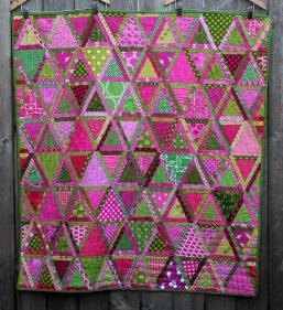 modern scrap triangle quilt