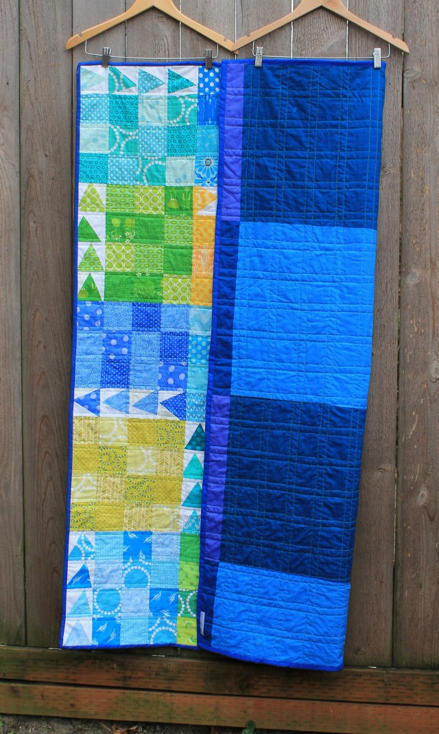 finished urban chicken quilt back